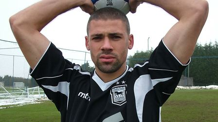 Jon Walters shows off Town's new black away kit for the 2010/11 season. Picture: ITFC