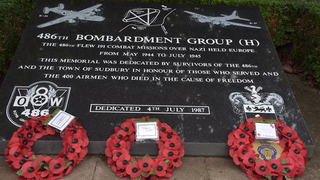 The wreaths on the USAF memorial at St Gregory's church in Sudbury to the 486th Bombardment Group ba