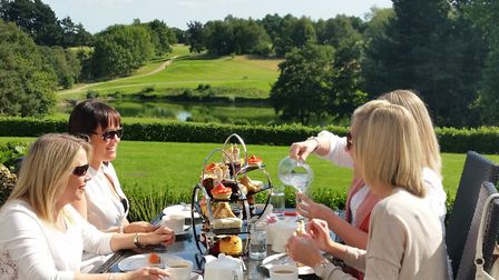Al fresco afternoon tea on the terrace at Stoke by Nayland Hotel Picture: Stoke by Nayland Hotel