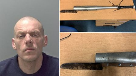 David Armstead and the weapon he wielded outside his flat in Sudbury Picture: SUFFOLK CONSTABULARY
