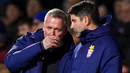 Town manager Paul Lambert and his assistant Stuart Taylor discuss options - there was too much chopp