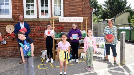 The children at Snape primary school thank Harry Young from Snape Maltings and Sue Partington who d