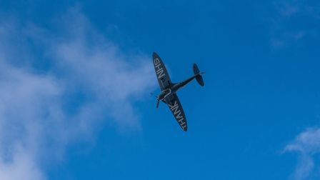 A special blue spitfire flew over Ipswich Hospital with a message of thanks to the NHS Picture: SAR