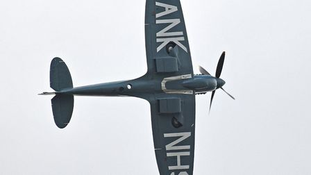 """The restored warplane was emblazoned with the words """"Thank U NHS"""" in recognition of the efforts made"""