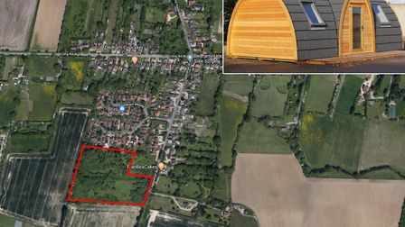 The 6 pods are planned to be located in land to the west of Coggeshall Road in Dedham, Essex. Pictur