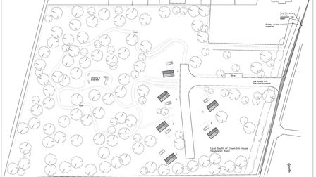 The proposed layout of the six holiday pods in land to the west of Coggeshall Road, in Dedham. Pictu