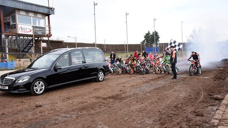 Danny Ayres' funeral at Mildenhall speedway track Picture: CHARLOTTE BOND