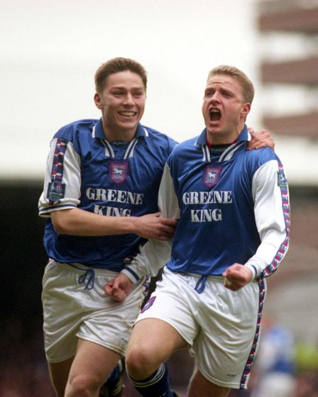 Matt Holland, left, celebrates during the famous 5-0 tonking of Norwich with hat-trick hero Alex Mat