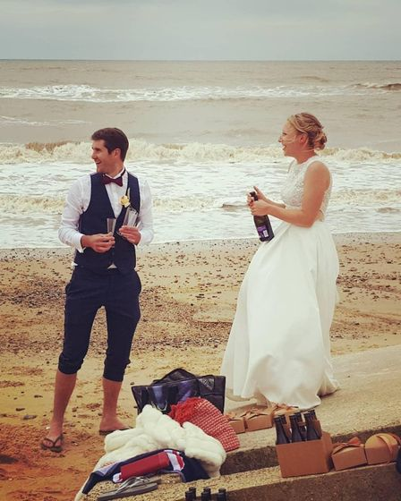 Beth and Ben Hadingham spent their wedding day doing a 'tour of Suffolk' in an Aston Martin, ending