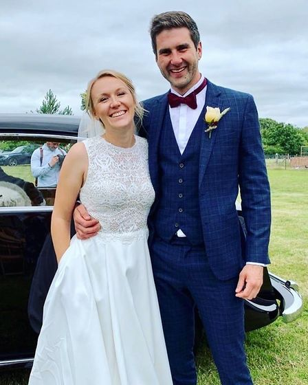 Beth and Ben Hadingham on the day of their wedding in Gislingham, Suffolk. Picture: PAULINE BECKETT