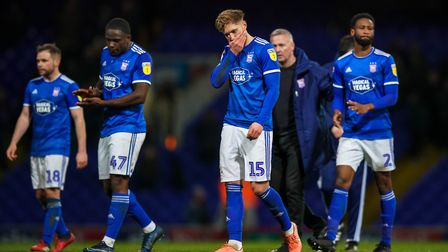 Ipswich Town players leave the field to boos following a 1-0 home loss to Fleetwood on March 3. Phot