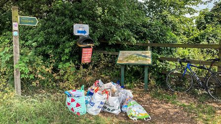 Bags of rubbish left at the entrance of the footpath that leads to the beach in Covehithe Picture: S