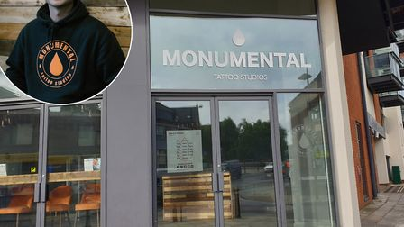 Aaron Clarke (inset) manages Monumental Ink in Ipswich and Colchester Picture: ARCHANT/HAYLEY FEARNL