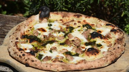 Sour dough wood fired smoked pheasant and wild garlic pesto with a celeriac base pizza at Wyken Vine