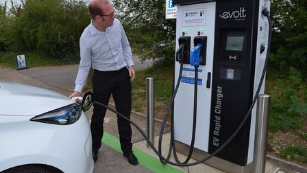 Establishing more electric vehicle (EV) charging points, such as this one at Needham Lake, are among