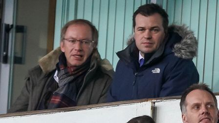 Ipswich Town owner Marcus Evans and general manager of football operations Lee O'Neill. Photo: Steve