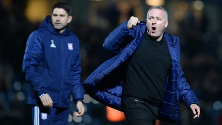 IpswichTown manager Paul Lambert (right) and assistant Stuart Taylor. Photo: Pagepix