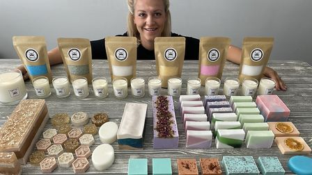 Stacey Casey of Mildenhall with her vast range of homemade soaps, candles and bath salts Picture: Le
