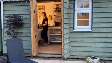 Stacey in her 'Soap Shed', working on her all-natural creations Picture: Lee Casey