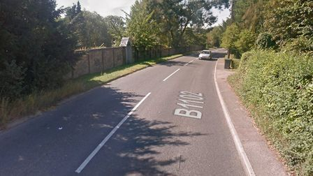 Police were called to the B1102 Mildenhall Road after a crash between a Jaguar and another vehicle P