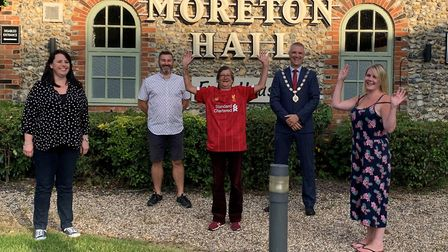 Sylvie Smith in her signed Liverpool shirt, with Sarah-Anne McDevitt, left, Nigel Canham, Mayor of B