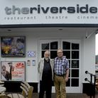 Film-maker Mike Leigh with Neil McGlone outside the Riverside Cinema in Woodbridge. The Riverside wi