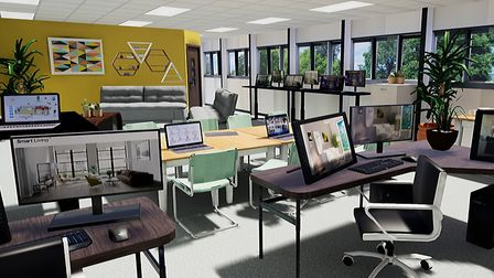 CGI images of what the new DigiTech centre being developed by the University of Suffolk and BT in Ma