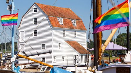 Woodbridge Tide Mill has been redecorated on the outside since it closed Picture: SIMON BALLARD