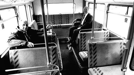 New look Ipswich Buses vehicles were introduced in 1985. Pictured were managing director Barry Moore