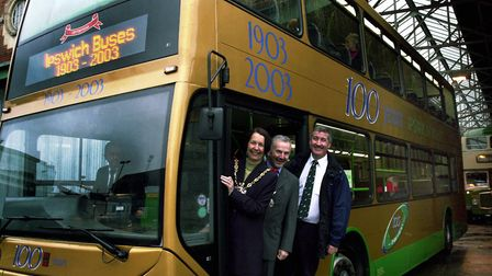 A gold-coloured double decker was launched to mark Ipswich Buses' centenary in 2003. Pictured were t