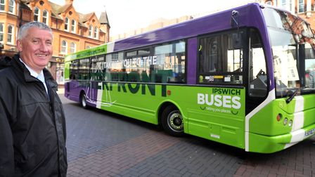Malcolm Robson, of Ipswich Buses, pictured with a rebranded Ipswich Buses vehicle in 2012. Picture: