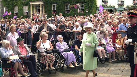 The Queen leaving the Angel Hill and entering the Abbey Gardens in 2002. Were you in the crowds? Pic