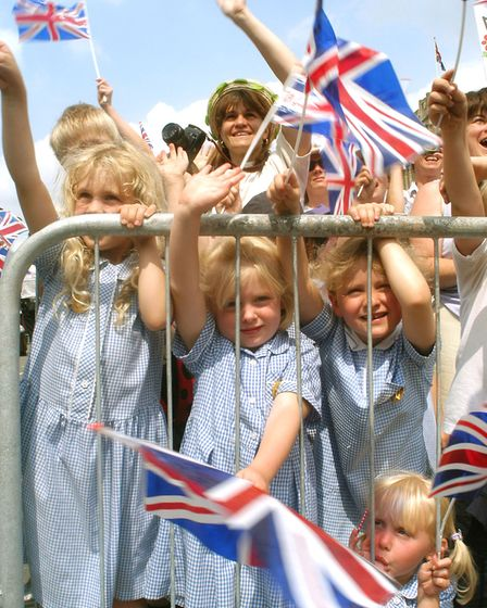 Lots of children eagerly waited to say hello to The Queen - were you one of them? Picture: ARCHANT L