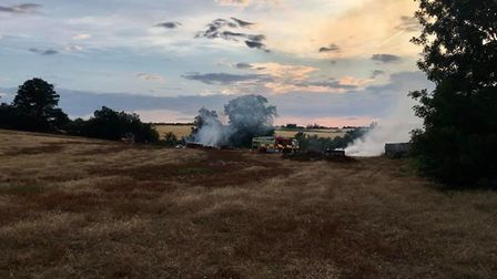Firefighters were called to Boxford yesterday evening to tackle a fire after 40 hay bales caught ali