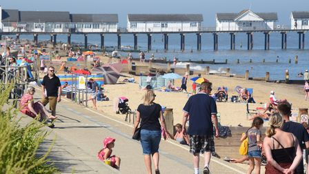 The busy beach at Southwold in the hot weather on Thursday, June 25 Picture: DENISE BRADLEY