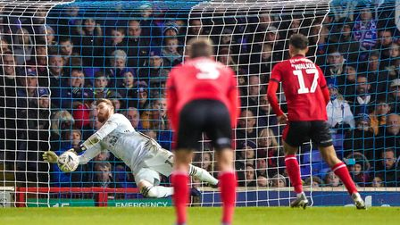 Will Norris makes a crucial save from a Tyler Walker taken penalty, to keep Town in the FA Cup clash
