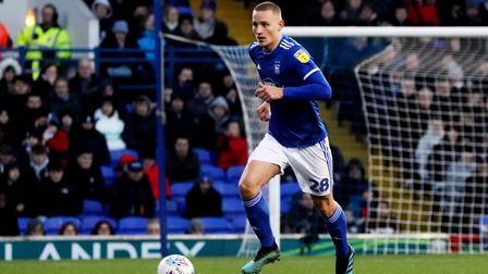 Luke Woolfenden on the ball during Ipswich Town's 2-1 defeat to Bristol Rovers at Portman Road Photo