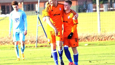 Conor McKendry celebrates an U23 goal with Luke Woolfenden. Picture: ROSS HALLS
