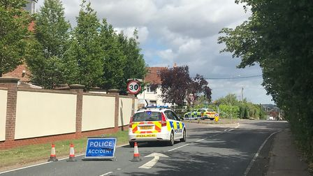 There is a large police presence in Mistley after a collision involving a car and a cyclist. Picture