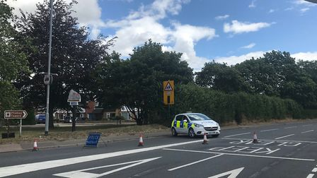 Long Road in Mistley is closed this morning following a crash between a car and a cyclist. Picture: