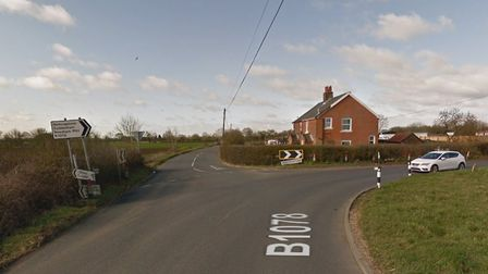 The B1078 is partially blocked in Hemingstone after an oil spill on the road. Picture: GOOGLE MAPS
