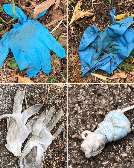 Some of the dumped PPE found in Landseer Park. Picture: JASON ALEXANDER