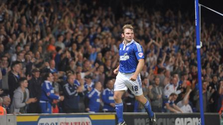 Jay Tabb celebrates scoring for Ipswich Town in 2015 Picture: SARAH LUCY BROWN