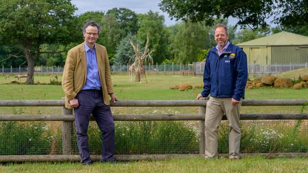 Waveney MP Peter Aldous, pictured left, has welcomed the reopening of Africa Alive!. Picture: BEN TH