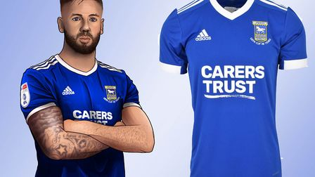 An artist's impression of captain Luke Chambers models Ipswich Town's new home kit, right. Picture: