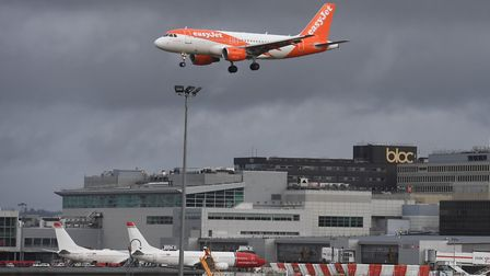 An EasyJet plane on its final approach before landing at Gatwick airport, which has been closed afte