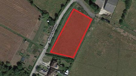 The eight homes would be built in land east of Bickers Hill in Laxfield Picture: GOOGLE MAPS