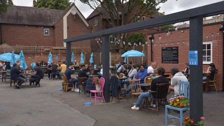 The pub garden at The Greyhound in Ipswich was a popular spot earlier in the day Picture: Sonya Du