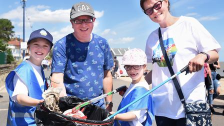 The Peverley family joined in with Litter-Free Felixstowe's clean-up Picture: DENISE BRADLEY