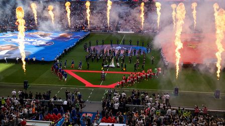 Flames systems designed by Luminous at the 2018 FA Cup at Wembley Stadium Picture: THE FA